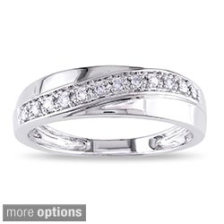 Miadora 10k White Gold 1/10ct TDW Men's or Women's Diamond Band