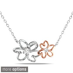 M by Miadora Two-tone Silver or Sterling Silver 1/6ct TDW Diamond Flower Necklace (H-I, I2-I3)