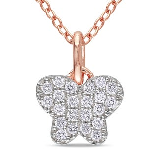 Miadora Rose Rhodium-plated Silver Diamond Necklace (H-I, I2-I3)