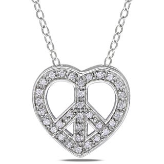 M by Miadora Sterling Silver 1/10ct TDW Diamond Heart and Peace Necklace (H-I, I2-I3)