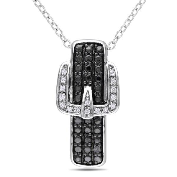M by Miadora Sterling Silver Diamond Buckle Necklace (H-I, I2-I3)