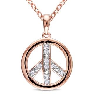 Miadora Rose Plated Silver Diamond Peace Necklace (H-I, I2-I3)