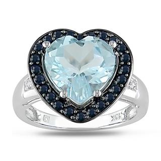 Miadora 10k White Gold Multi-gemstone and Diamond Heart Ring (G-H, I1-I2)