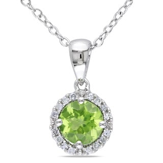 Miadora Sterling Silver Peridot and Diamond Necklace (G-H, I1-I2)