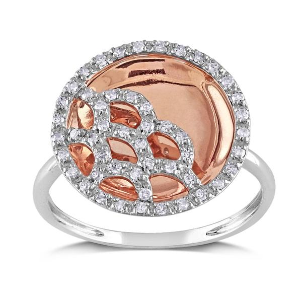 Miadora 10k Rose and White Gold 1/4ct TDW Swirl Diamond Ring
