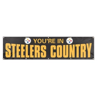 Party Animal Black Pittsburgh Steelers Banner (8'x2')