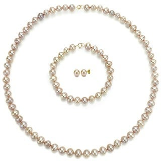 DaVonna 14k Gold Pink FW Pearl Necklace Bracelet and Earring Set (6-6.5 mm)