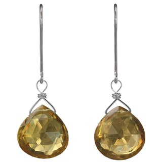 Ashanti Sterling Silver Genuine Citrine Briolette Earrings (Sri Lanka)