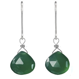 Ashanti Sterling Silver Green Chalcedony Earrings (Sri Lanka)