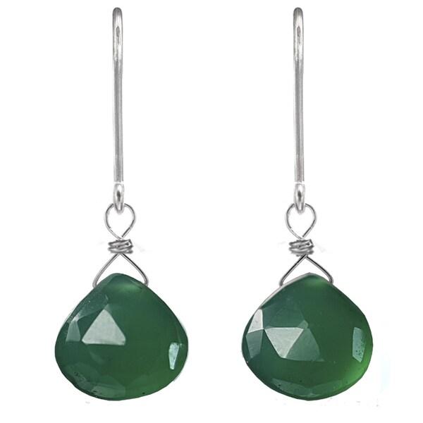 Ashanti Sterling Silver Green Chalcedony Earrings (Sri Lanka)