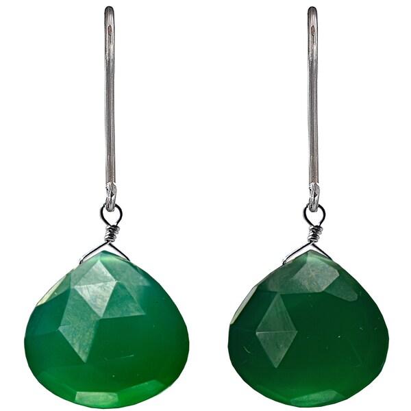 Ashanti Sterling Silver Large Emerald Chalcedony Earrings (Sri Lanka)