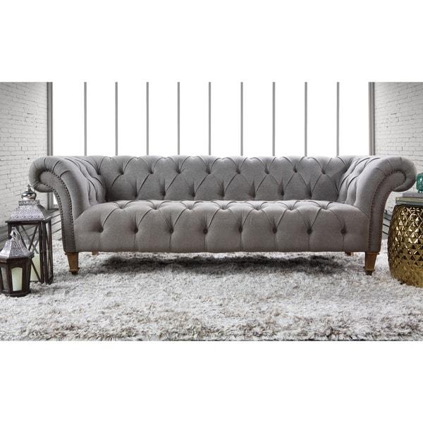 Kosas Home Mikayla Granite Grey Stone Wash Linen Sofa