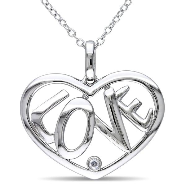 """Miadora Sterling Silver """"LOVE"""" Diamond Heart Necklace (H-I, I2-I3)"""