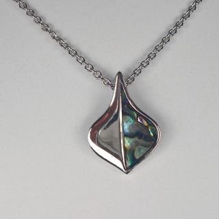 Jewelry by Dawn Stainless Steel Freeform Shaped Abalone Necklace