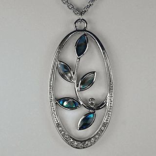 Jewelry by Dawn Stainless Steel Oval Shaped Abalone Necklace
