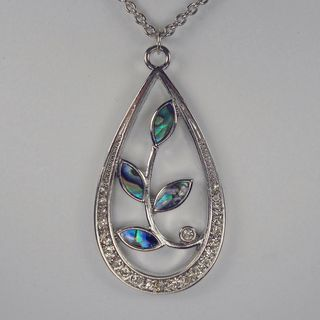 Jewelry by Dawn Stainless Steel Teardrop Shaped Abalone Necklace