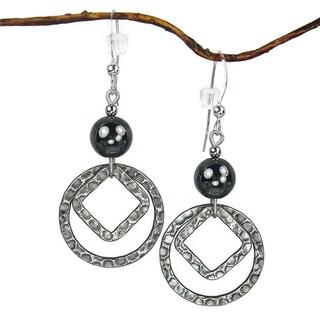 Jewelry by Dawn Antique Silver Hematite Double Drop Earrings