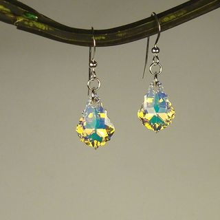 Sterling Silver Crystal AB Baroque Earrings