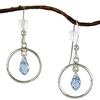 Jewelry by Dawn Sterling Silver Blue Crystal Small Hoop Earrings