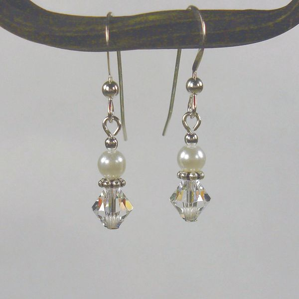 Jewelry by Dawn Sterling Silver White And Crystal Bicone Double Bead Earrings 10104732