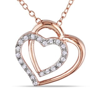 Haylee Jewels  Rose Silver 1/10ct TDW Diamond Heart Necklace (H-I, I2-I3)