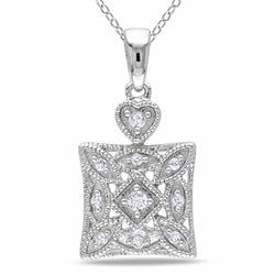 Miadora Sterling Silver 1/10ct TDW Diamond Necklace (H-I, I2-I3)