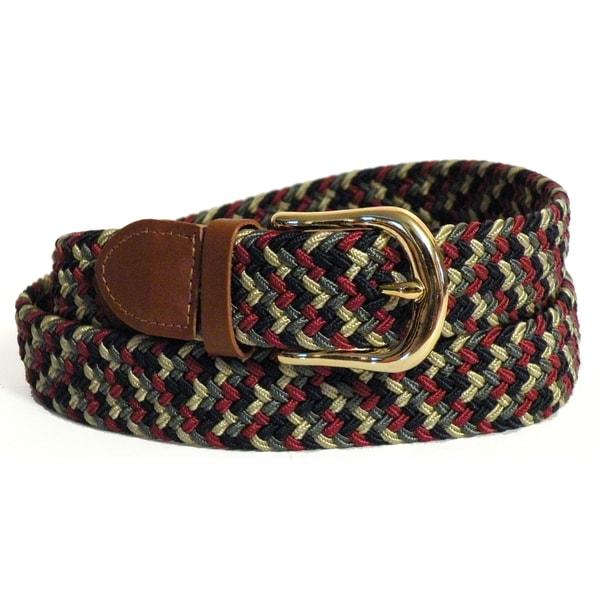 Men's Red/ Multi-color Stretch Nylon and Leather Belt