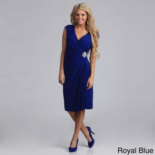 Tabeez Jersey Ruched Diamond Wrap Dress