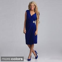 Tabeez Jersey Ruched Diamond Wrap Dress