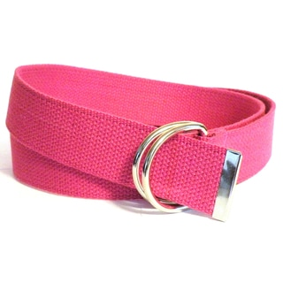 Women's Fuchsia Cotton Canvas Double Hoop Belt
