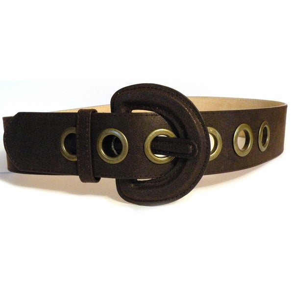 Women's Brown Genuine Leather Wide Belt