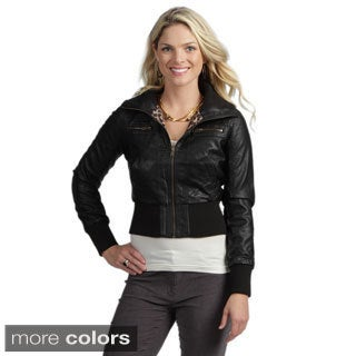 Tabeez Women's Pleather Bomber Jacket