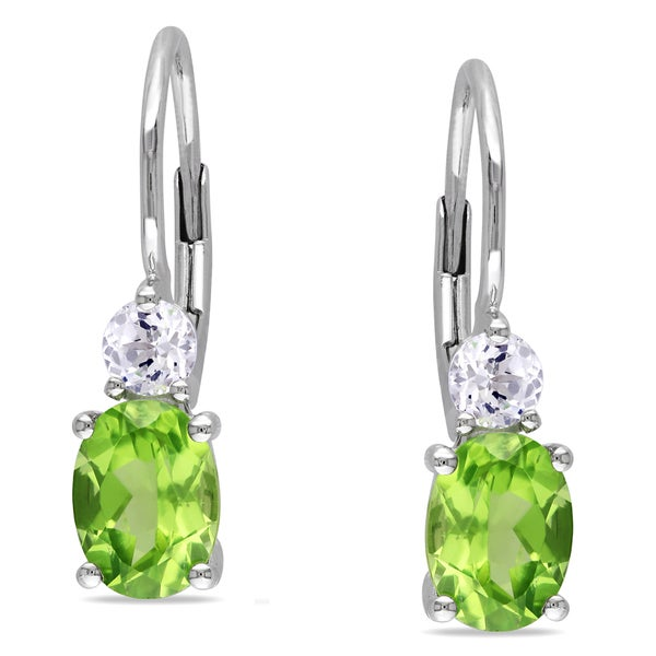 Miadora Sterling Silver Peridot and Created White Sapphire Earrings