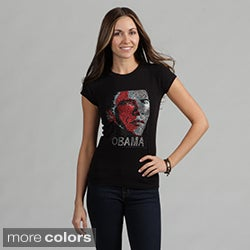 Women's Rhinestone Embellished 'Obama' Tee Shirt