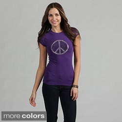 Women's Rhinestone Embellished 'Peace' Tee Shirt