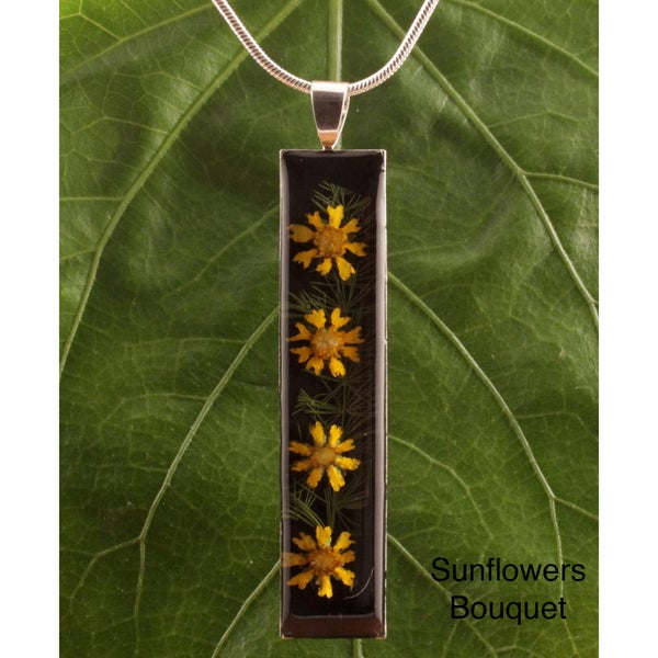 Silverplated Sunflowers Flowers Bouquet Necklace (Mexico)
