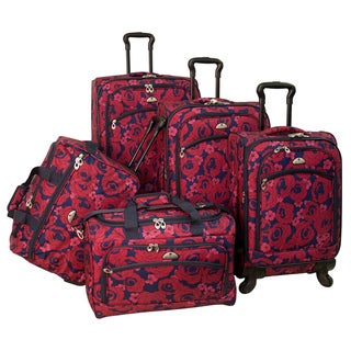 American Flyer Red Rose 5-piece Red Expandable Spinner Luggage Set