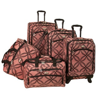 American Flyer Clover Metallic 5-piece Pink Expandable Spinner Luggage Set