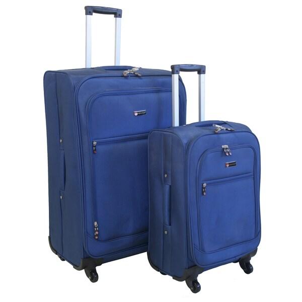 American Flyer Austin Quattro 2-piece Blue Spinner Luggage Set