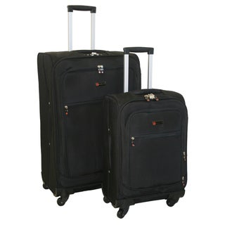 American Flyer Austin Quattro 2-piece Black Spinner Luggage Set