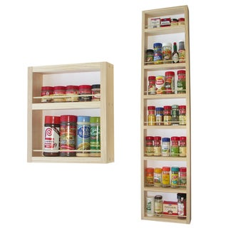 Solid Pine Wood 60-inch On-the-wall 2-piece Spice Rack