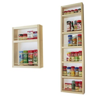 Solid Pine Wood 54-inch On-the-wall 2-piece Spice Rack
