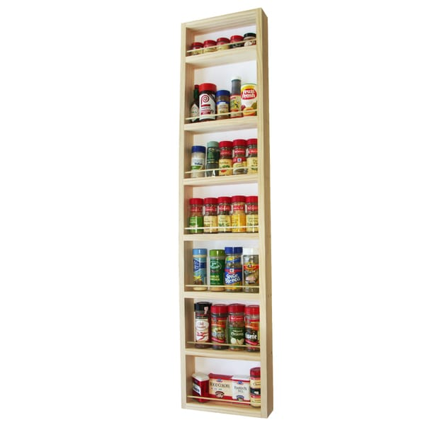 Solid Pine Wood 48-inch On-the-wall Spice Rack