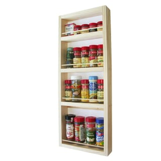 Solid Pine Wood 27.75-Inch On-the-Wall Natural-Finish Spice Rack