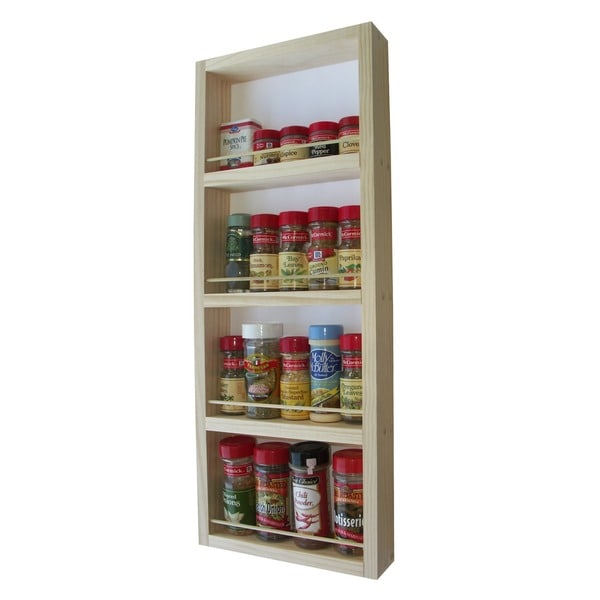 Solid Pine Wood 27.75-inch On-the-wall Spice Rack