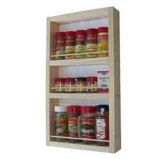 Solid Pine Wood 21-inch On-the-wall Spice Rack