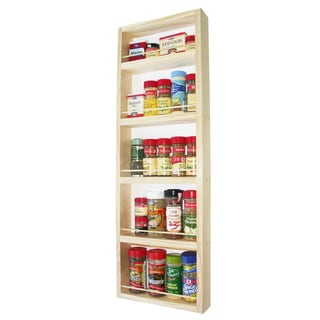 Solid Pine Wood 30-inch On-the-wall Spice Rack