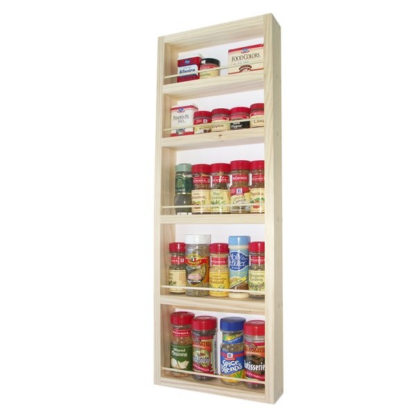 Solid Pine Wood 32-inch On-the-wall Spice Rack