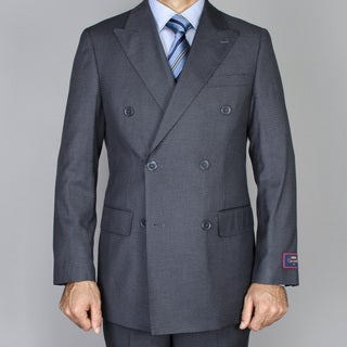 Carlo Lusso Men's Charcoal Grey Double Breasted Suit