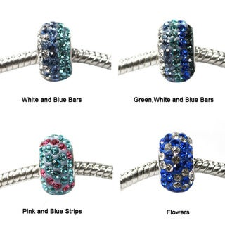 De Buman Sterling Silver Blue Crystal Charm Bead